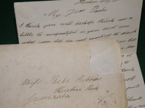 lettter to Phebe Robbins from Mary Robbins