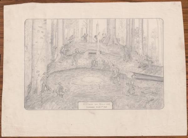 sketch of Tarakan WWII by Harold Roy Winter