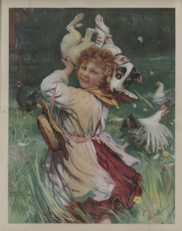 a scan of the framed print, Caught in the act by Arthur J. Elsley