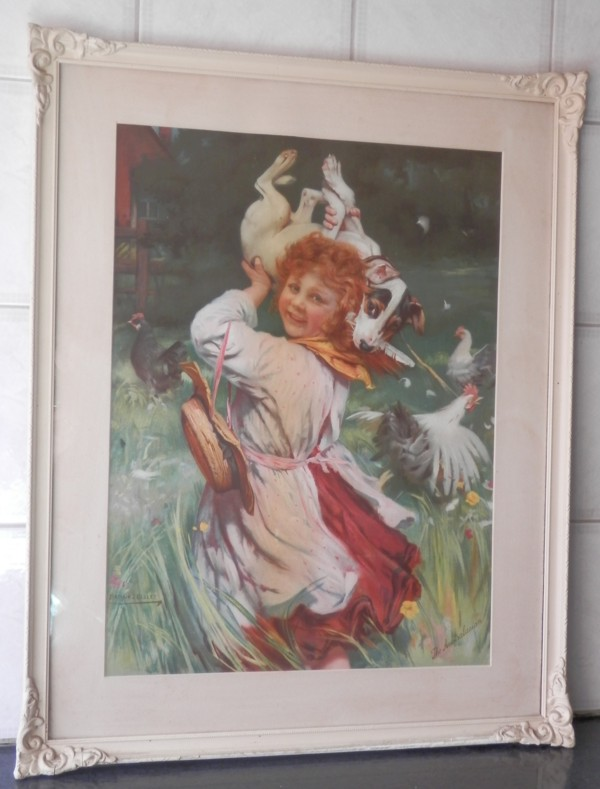 a photograph of the framed print, Caught in the act by Arthur J. Elsley