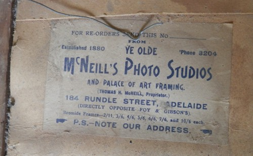 close up of the McNeill's photo Studio, in Rundle Street, Adelaide label