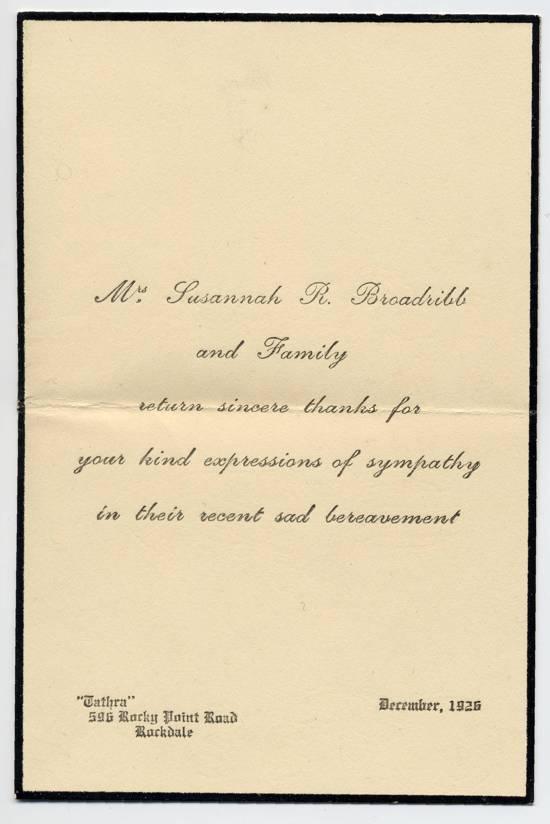 Return Thanks - note Dec 1926