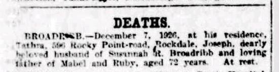 death notice in the Sydney Morning Herald newspaper, 8 December 1926