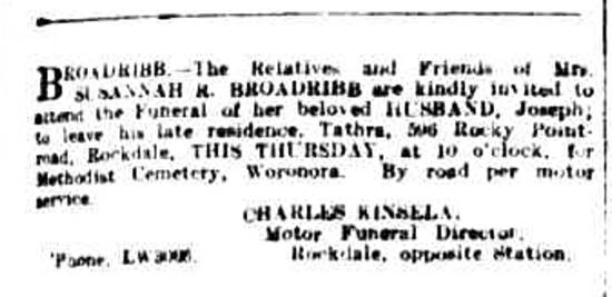 funeral notice in the Sydney Morning Herald newspaper, 9 December 1926