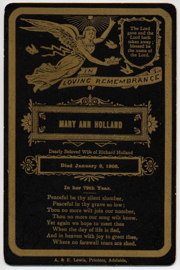 Mary Ann Holland funeral card