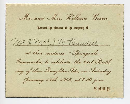 Ida Green birthday invitation