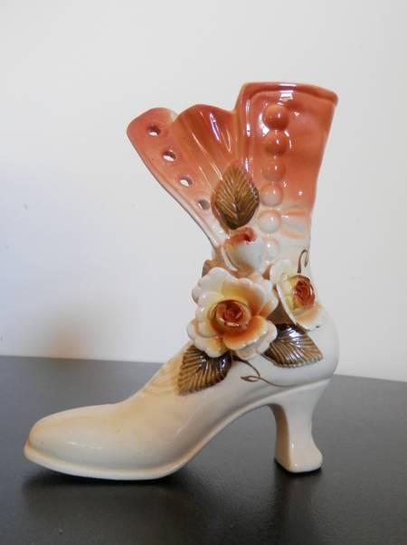 ceramic ornament vintage ladies boot