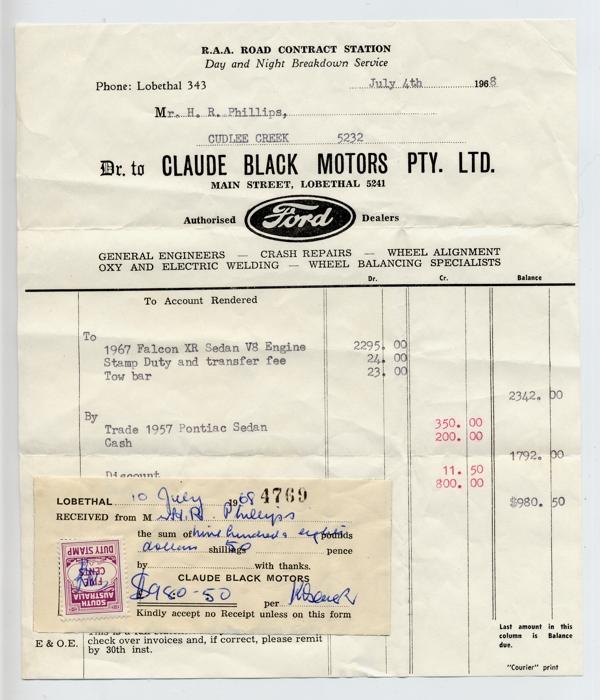 receipt - Claude Black Motors car sale 1968
