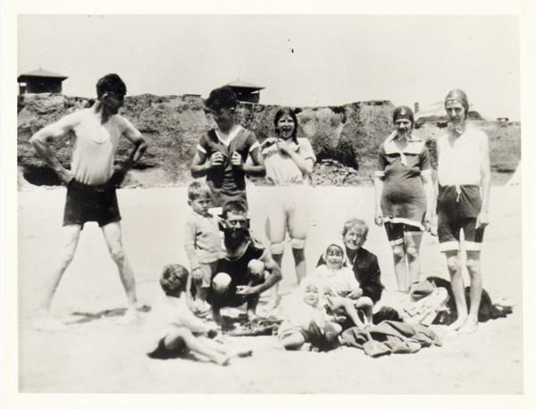 the group having fun at the beach, Moana, c.1934 far left Herb Harding, third from left Lyn Randell