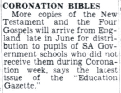 NEWS IN BRIEF, The Advertiser, 20 June 1953 p. 4. http://nla.gov.au/nla.news-article48260113