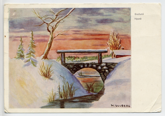 Christmas postcard to ORW from sister Ingeborg - a