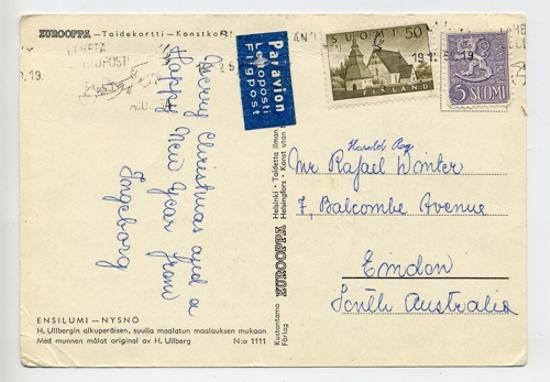Christmas postcard to ORW from sister Ingeborg - b