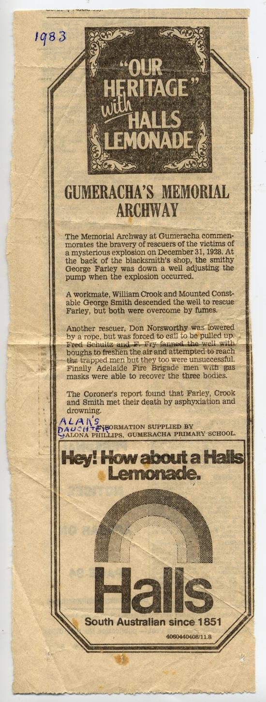 Advertiser 1983 - Gumeracha's Memorial written by Alona
