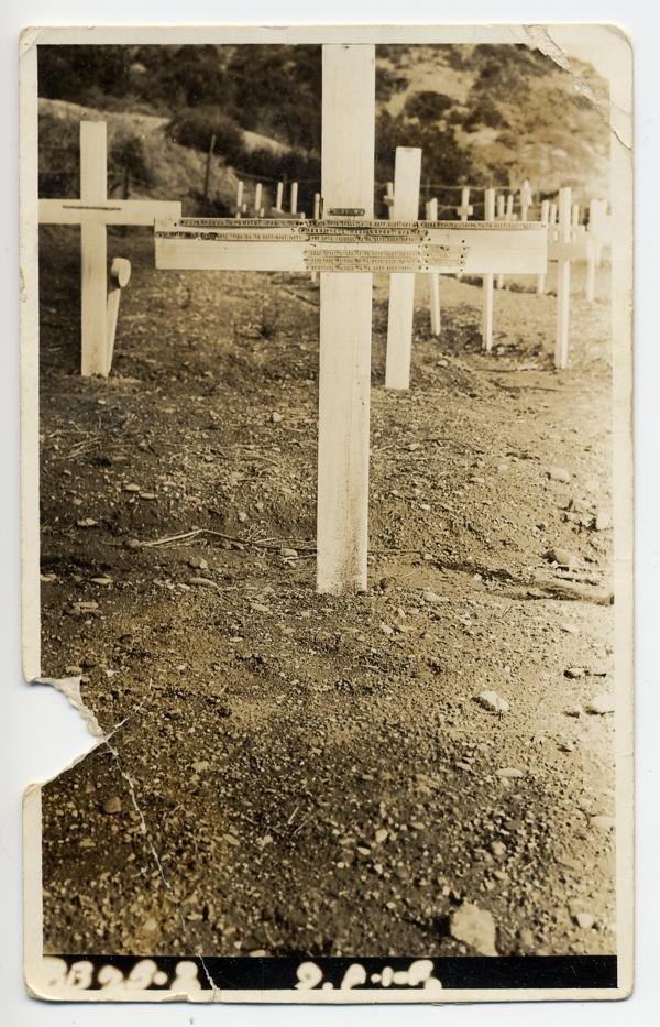 Charles McCullough's original cross at Shrapnel Valley Cemetery, Gallipoli, 1921