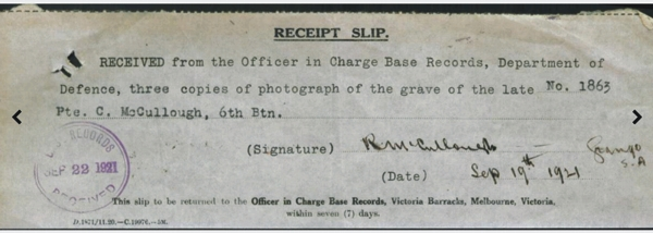 page 13 of Charles McCullough's military dossier on NAA showing the family received photos of his military cross grave