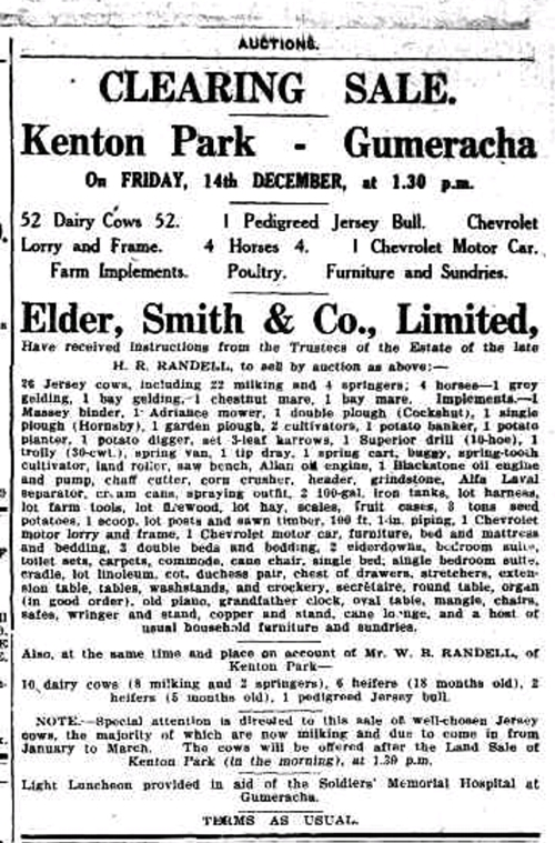 Advertising. (1928, December 7). The Mount Barker Courier and Onkaparinga and Gumeracha Advertiser (SA : 1880 - 1954), p. 2. Retrieved January 26, 2016, from http://nla.gov.au/nla.news-article146037510