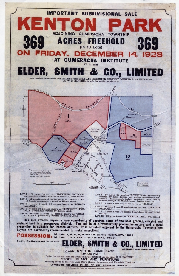 copy of original flyer, of the Kenton Park auction in 1928