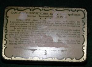 Zam-Buk Suppositories bottom of tin