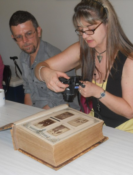 photographing the photos in the Randell Family Bible