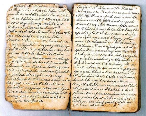 page from Ella Randell's (nee Sinkinson) diary