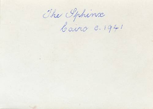 Sphinx Egypt 1941 WWII - back