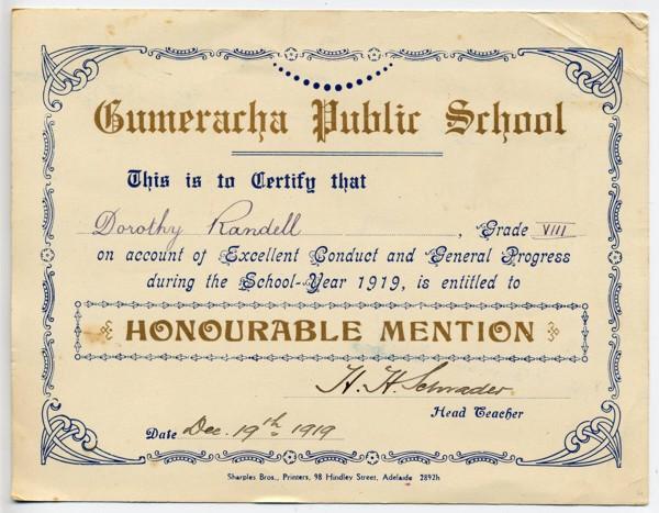 DA Randell School Certificate