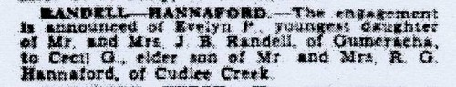 Evelyn Randell and Cecil Hannaford's engagement notice in The Advertiser, 15 May 1940
