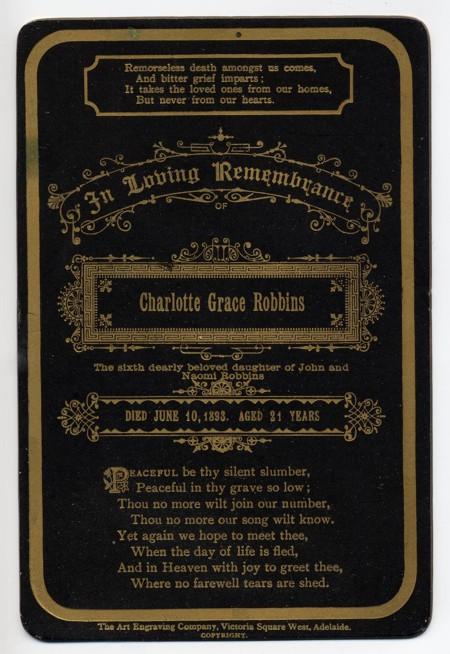 Funeral Card - Charlotte Grace Robbins