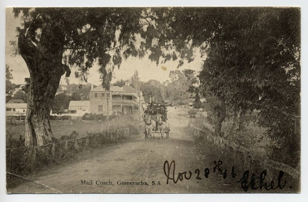 a postcard showing the Gumeracha Mail Coach going down the main street, dated 28th November 1906