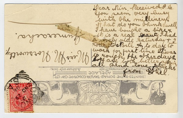 Mail Coach postcard turned upsidedown so you can read the message Ethel wrote to Min