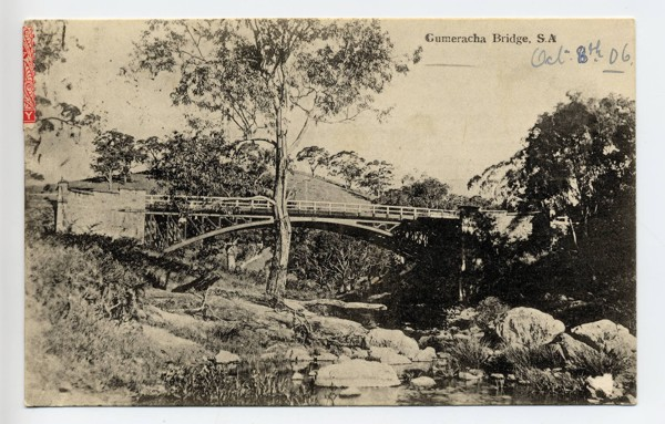postcard showing the Gumeracha Bridge, dated 8thOctober 1906