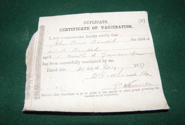 John Beavis Randell's Vaccination Record 1877