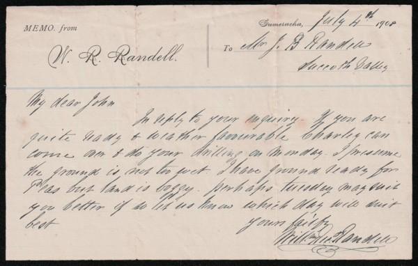 Memo from WB Randell to JB Randell 1908