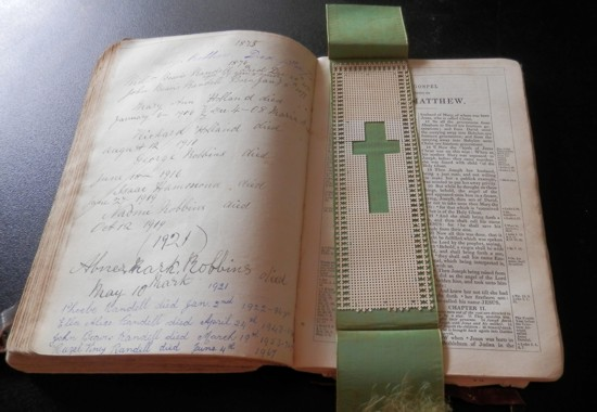 a blank page in Phebe's bible where she has written family details