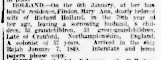 Mary Ann Holland's (nee Robbins) death notice in The Register, 14 February 1906, page 8 http://nla.gov.au/nla.news-article55648941