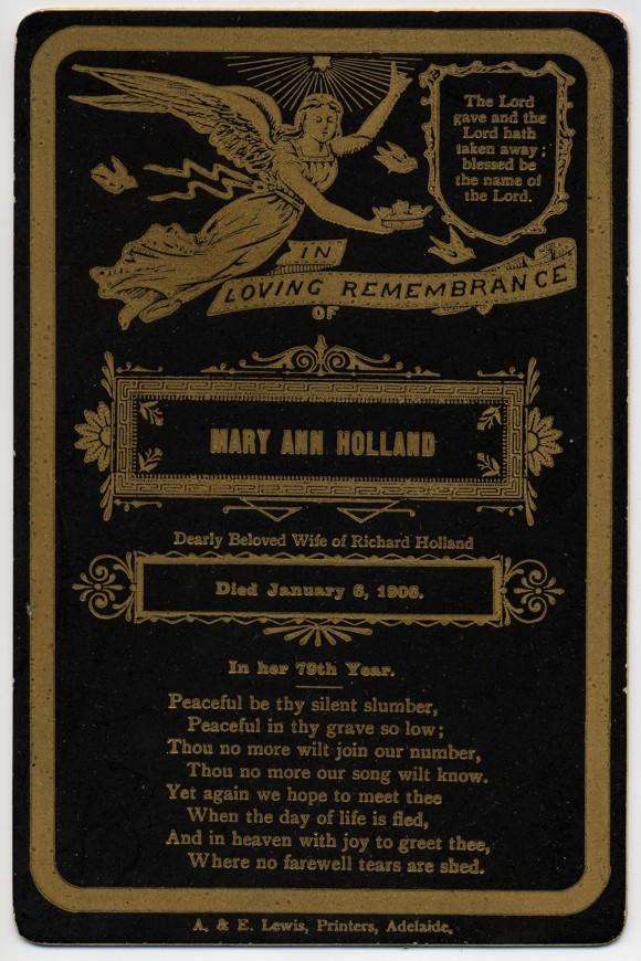 Mary Ann Holland funeral card