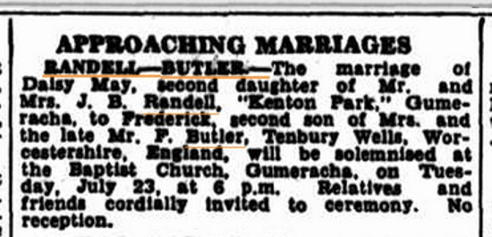 the notice in the Approaching Marriages column in the Chronicles Family Notices. (1935, July 18). Chronicle (Adelaide, SA : 1895 - 1954), p. 25. Retrieved August 11, 2013, from http://nla.gov.au/nla.news-article92325571