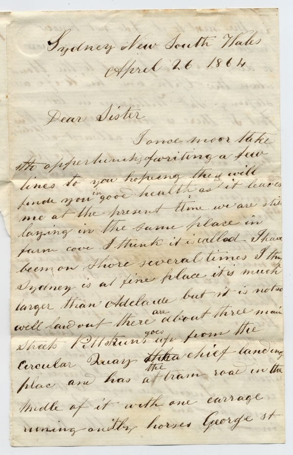 letter - Abner Robbins to sister Phebe Robbins 1864-04-26 page 1