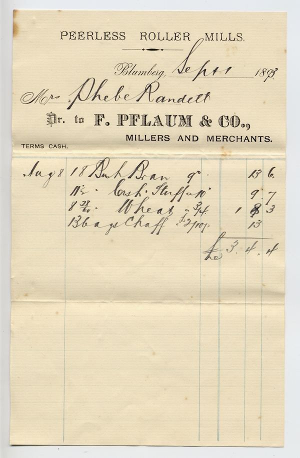 receipt from the F, Pflaum & Co. millers at Blumberg dated 1 September 1893