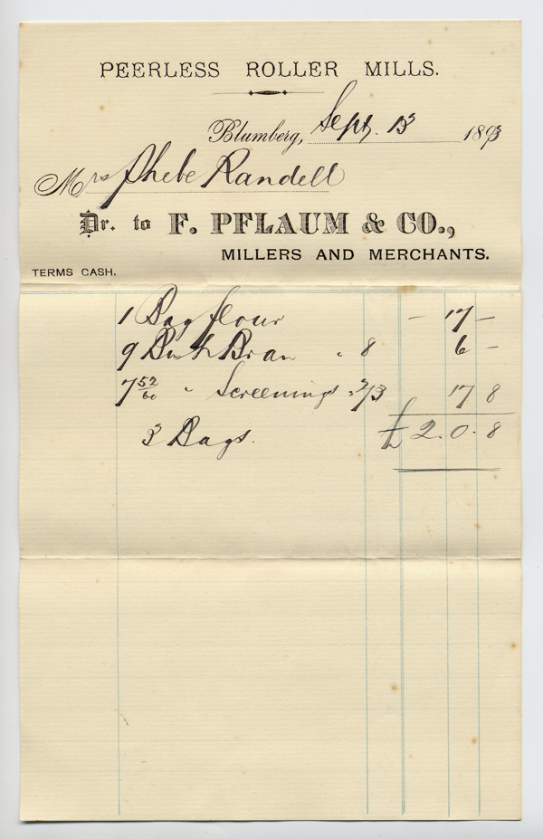 receipt from the F, Pflaum & Co. millers at Blumberg dated 13 September 1893