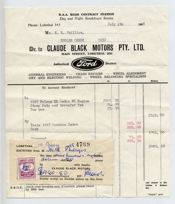 receipt - Claude Black Motors car sale 1968
