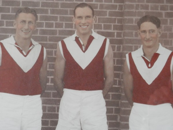 closeup of Frank Crouch (age 24), Ian McKay (age 26) and Ron Phillips (age 28)