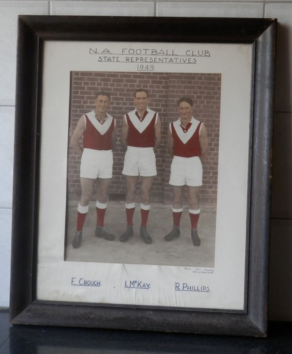 North Adelaide Football Club players who represented South Australia in the 1949 State teamL-R: F. Crouch, I. McKay and R. Phillips