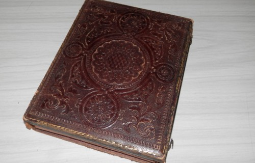 PHOTO 2: the front of the second Randell daguerreotype photo, showing the embossing on the leather