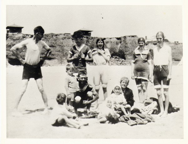 the group having fun at the beach, Moana, c.1934 far left Herb Harding, third from left Lyn Randell