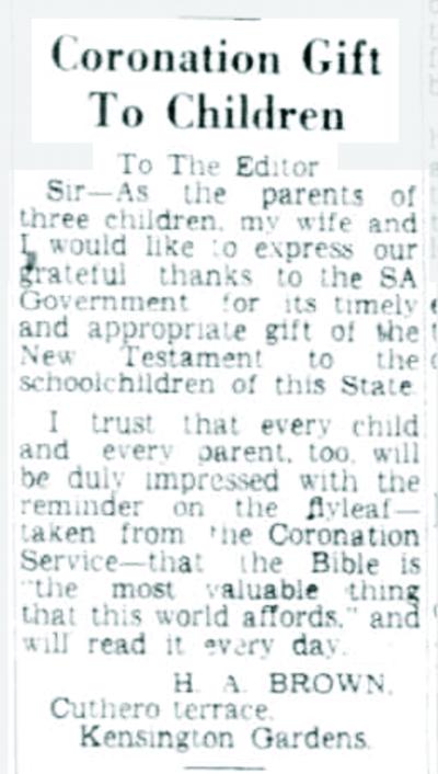 Coronation Gift To Children. (1953, June 10). The Advertiser (Adelaide, SA : 1931 - 1954), p. 4. Retrieved September 6, 2014, from http://nla.gov.au/nla.news-article48262378