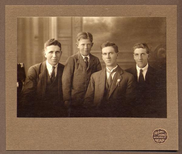 "the Randell boys L-R: Beavis, Restyn ""Pete"", Glen and Ivan"