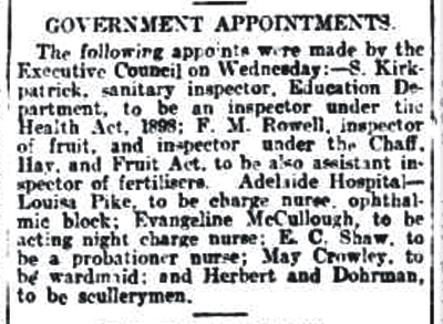 entry taken from the 'General News' section in The Advertiser, Thursday 6 August 1909, p11
