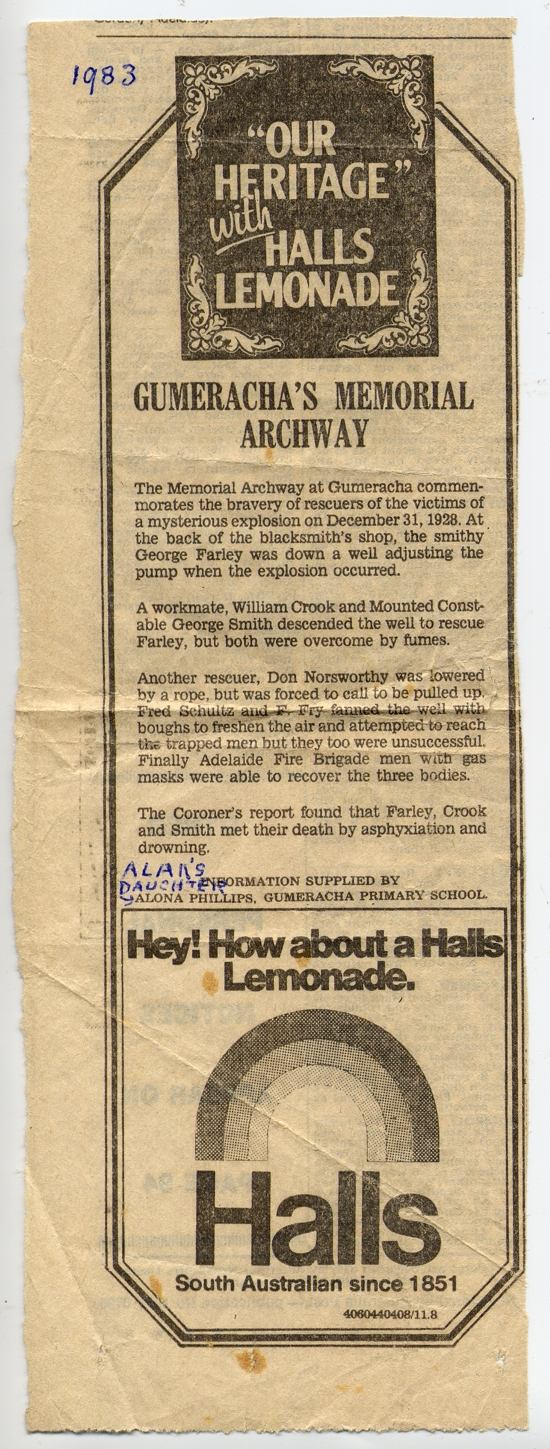 Advertiser 1983 - Gumeracha's Memorial written by Alona