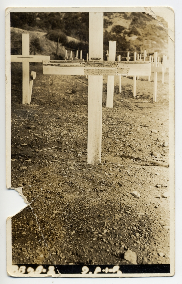 Charles McCullough's original cross at Shrapnel Valley Cemetery, Gallipoli, 1921